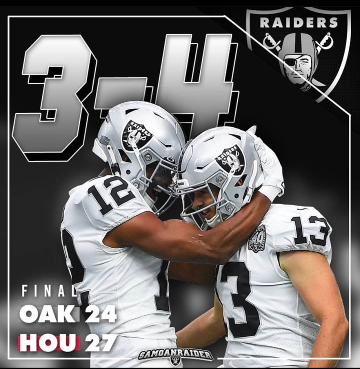 Week 8 (@texans): Back to back L's…. (3-4) on to Detroit #Raidernation