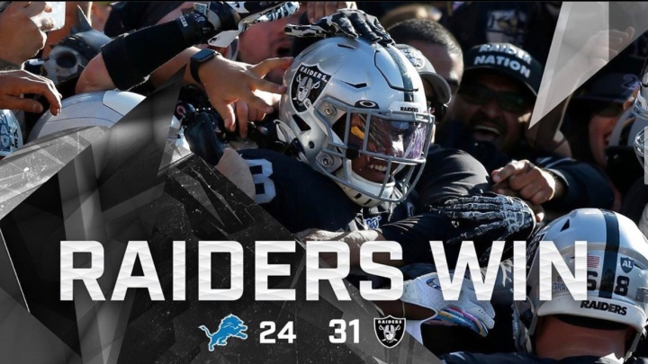 Week 9 (Lions): aaand we're back! (4-4) gameday chain 2-2 #RaiderNation #RAIDERS #Lions #NFL